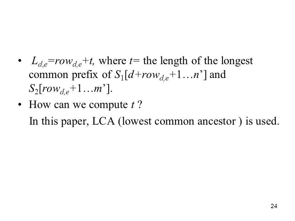 Ld,e=rowd,e+t, where t= the length of the longest common prefix of S1[d+rowd,e+1…n'] and S2[rowd,e+1…m'].